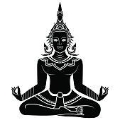 Silhouette illustration of an angel meditating