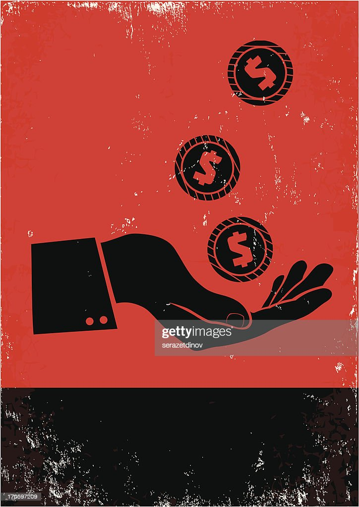 Silhouette illustration of coins falling on a hand