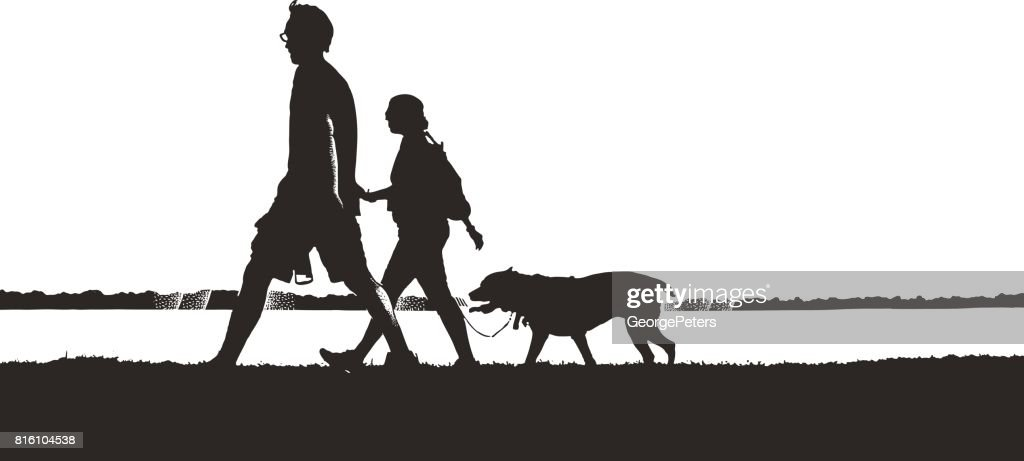 Silhouette illustration of couple walking dog