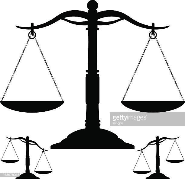 ilustraciones, imágenes clip art, dibujos animados e iconos de stock de escalas & peso - balanzas de la justicia