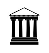 Silhouette image of a classical style facade with columns