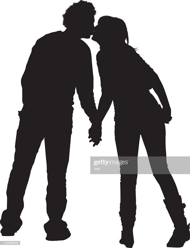 シルエットカップルのキスのイメージ ベクトルアート | getty images