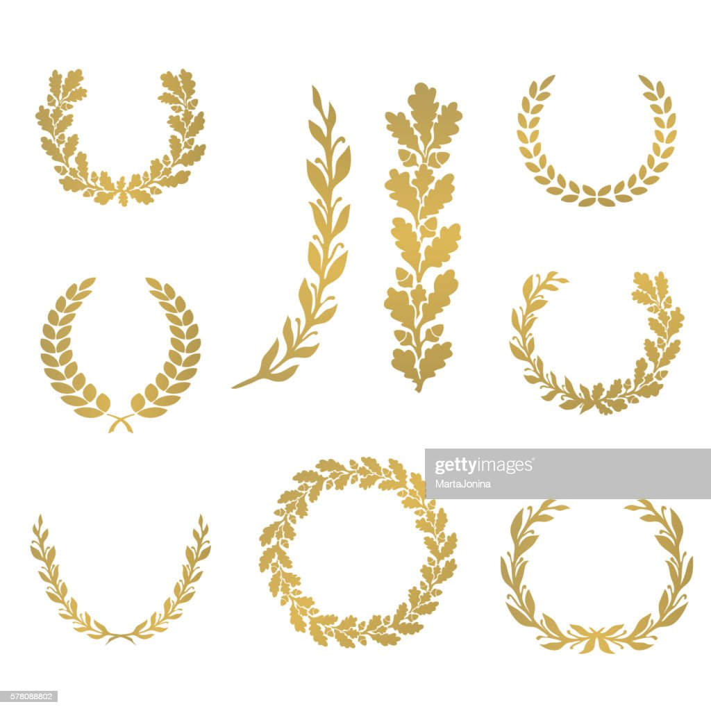 Silhouette laurel and oak wreaths in different  shapes