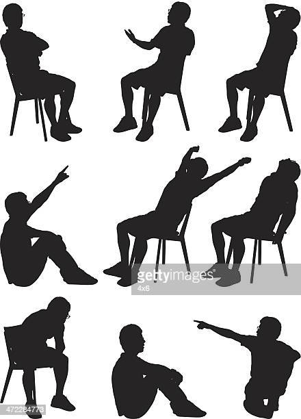 silhouette males sitting - dipping stock illustrations, clip art, cartoons, & icons