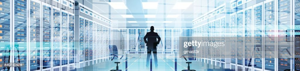 Silhouette Man In Data Center Room Hosting Server Computer Information Database
