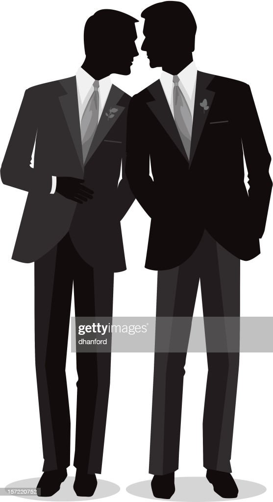 Silhouette Men Gay Marry : stock illustration