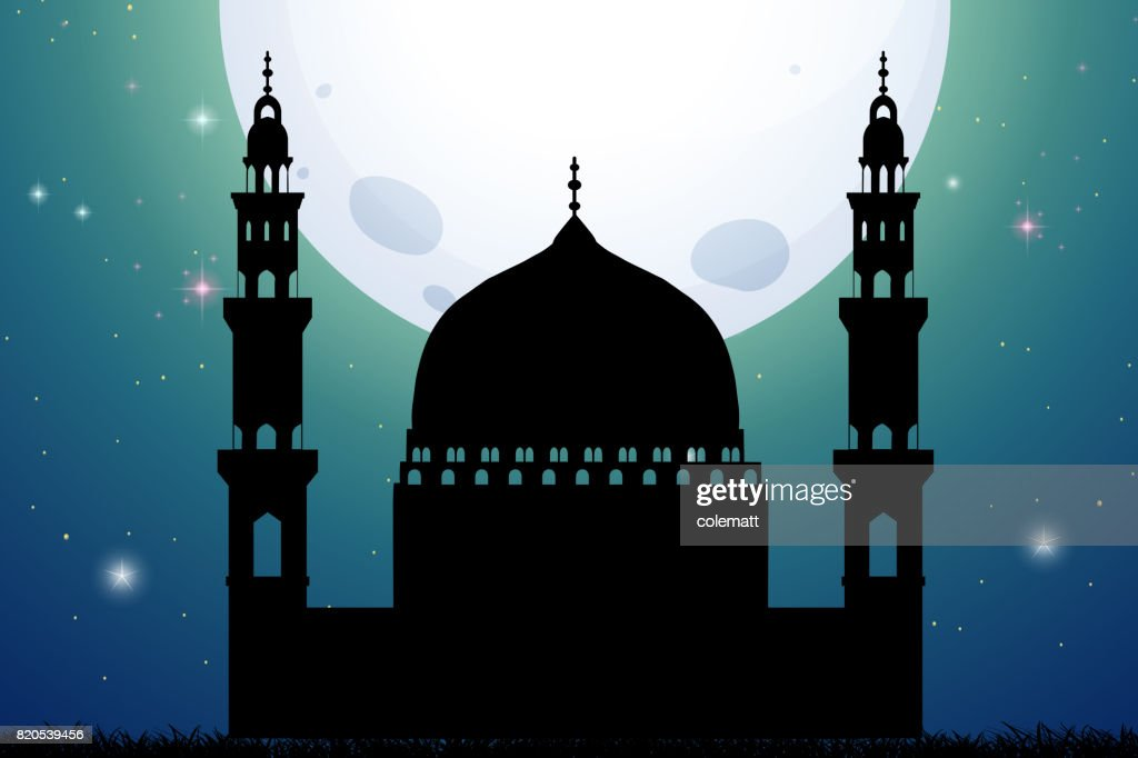 Silhouette mosque on fullmoon night