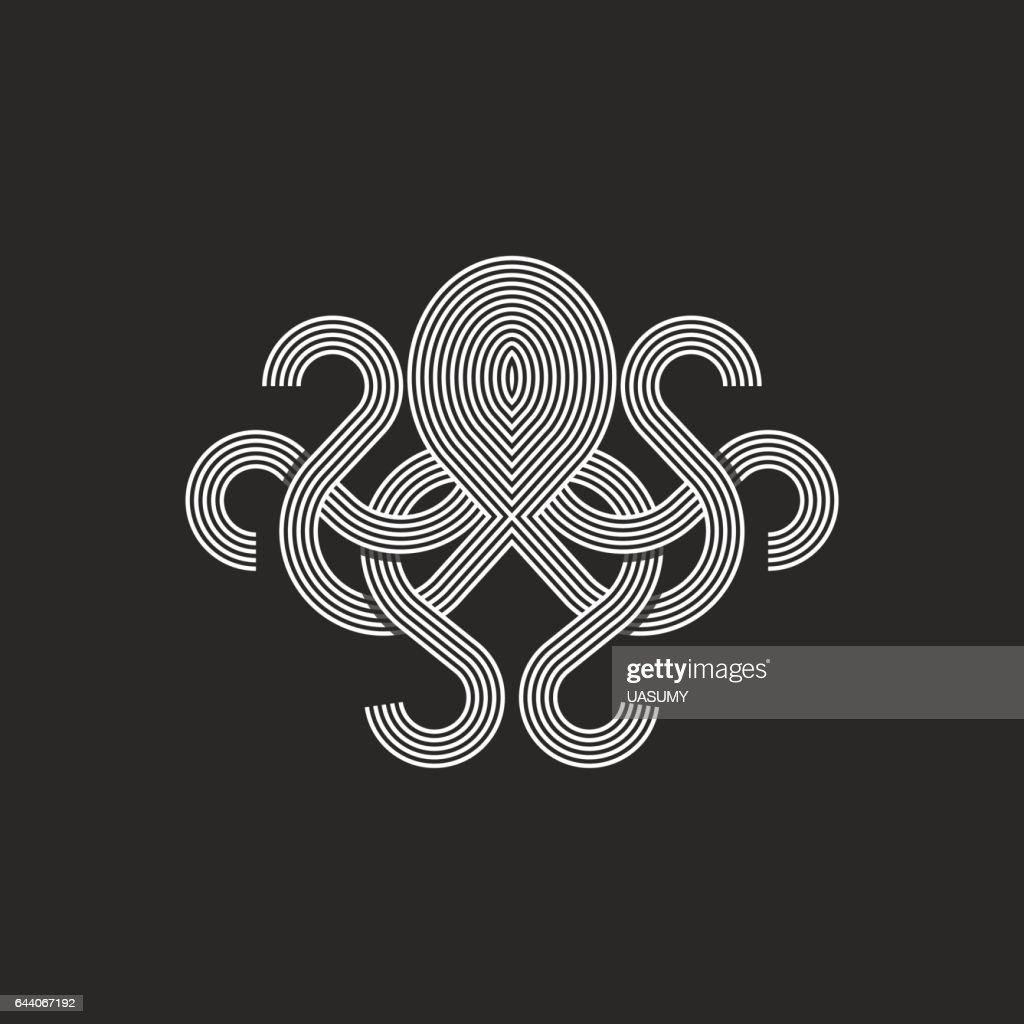 Silhouette octopus logo monogram, mockup seafood restaurant emblem