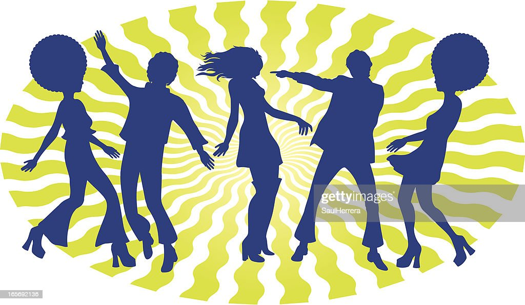 Silhouette of 5 boogie dancers with 60s hairstyle
