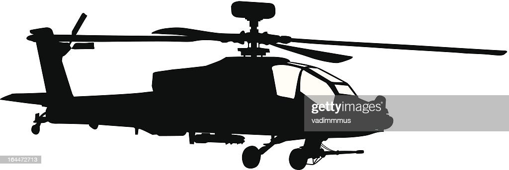 Silhouette of a black Apache helicopter