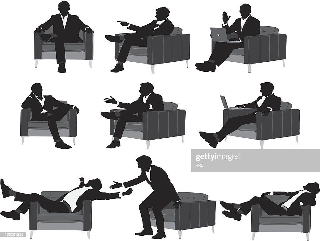 Silhouette der Geschäftsmann in verschiedenen Posen : Stock-Illustration