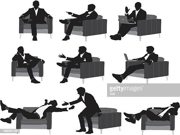silhouette of a businessman in different poses - black shoe stock illustrations