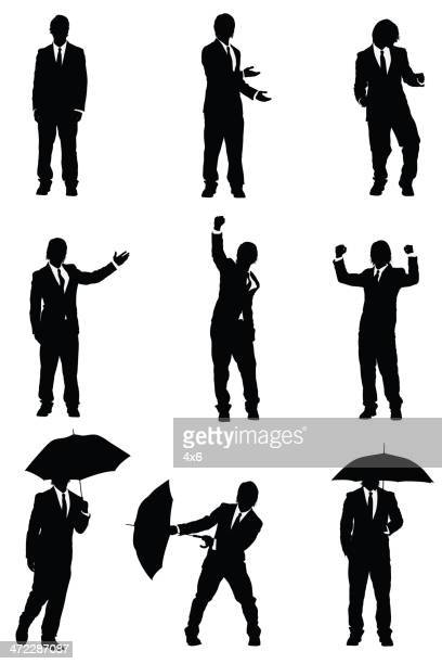 Silhouette of a businessman in different poses