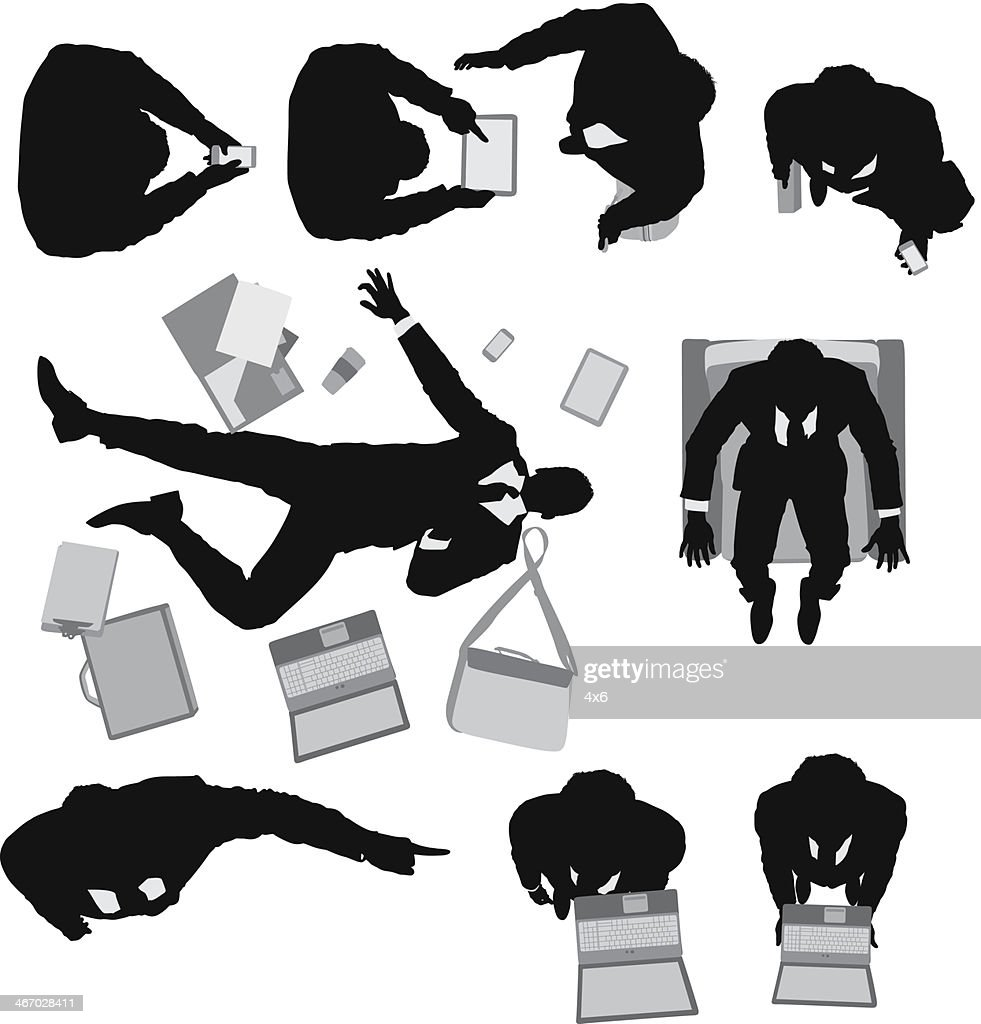 Silhouette of a businessman with office accessories : stock illustration