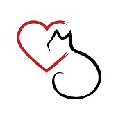 Silhouette of a cat and a heart. Outline brush. Abstraction.