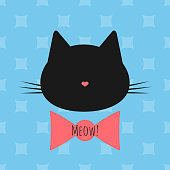 Silhouette of a cat's head, bow, text Meow! Seamless background.