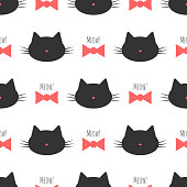 Silhouette of a cat's head, bow, text Meow! Seamless pattern.