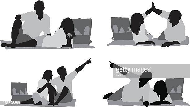silhouette of a couple at picnic - picnic blanket stock illustrations, clip art, cartoons, & icons