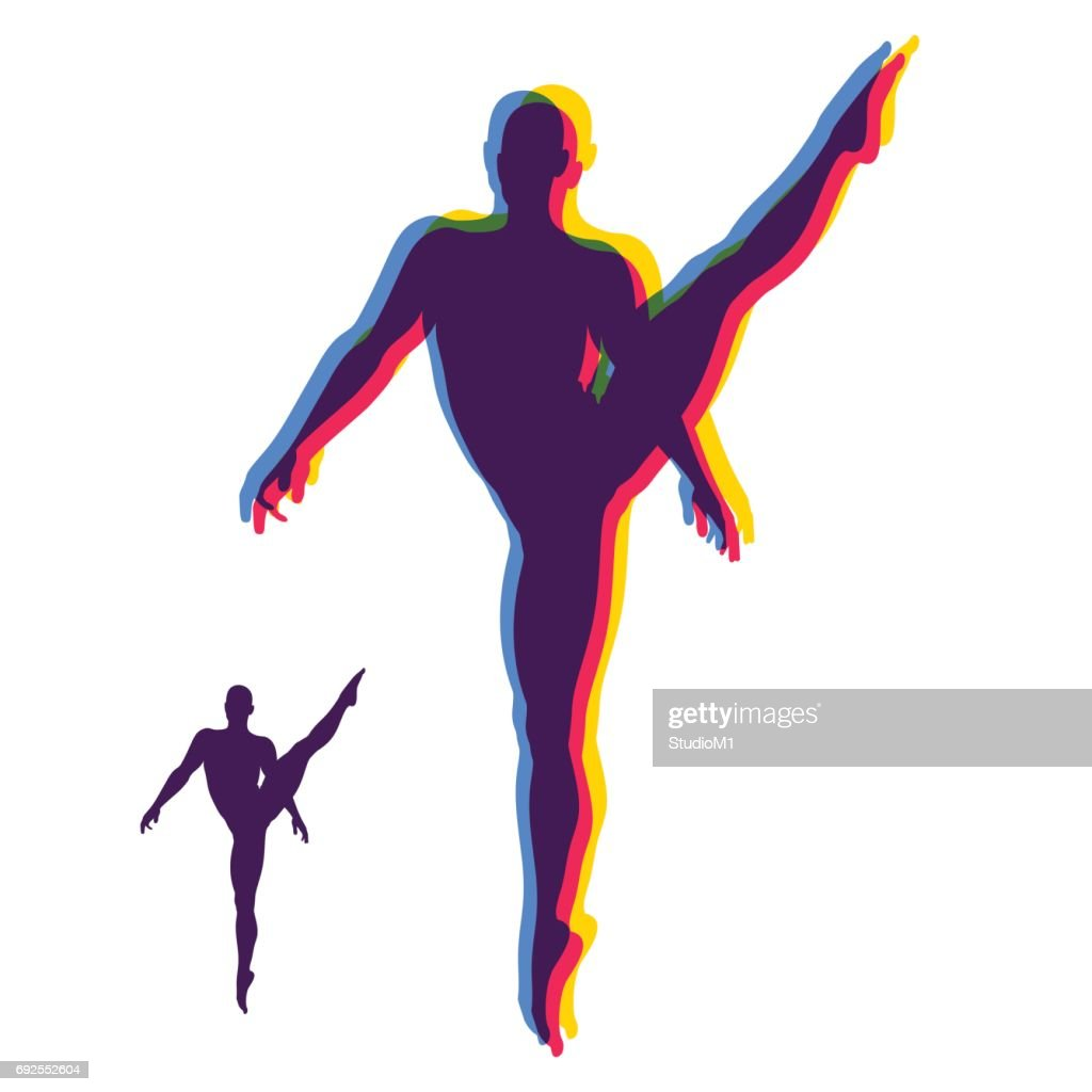 Silhouette of a Dancer. Gymnast. Man is Posing and Dancing. Sport Symbol. Ballerina standing on tiptoe. Design Element. Vector.
