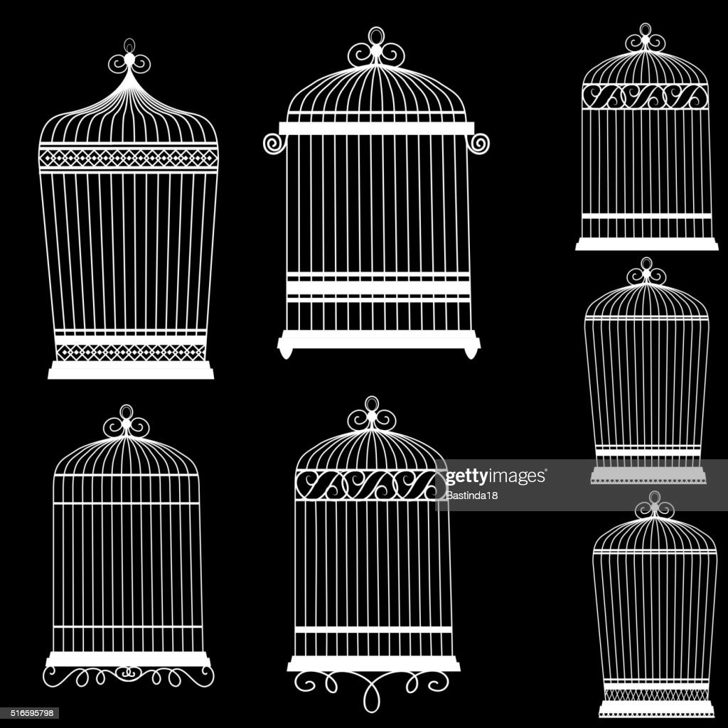 Silhouette of a decorative bird cages set