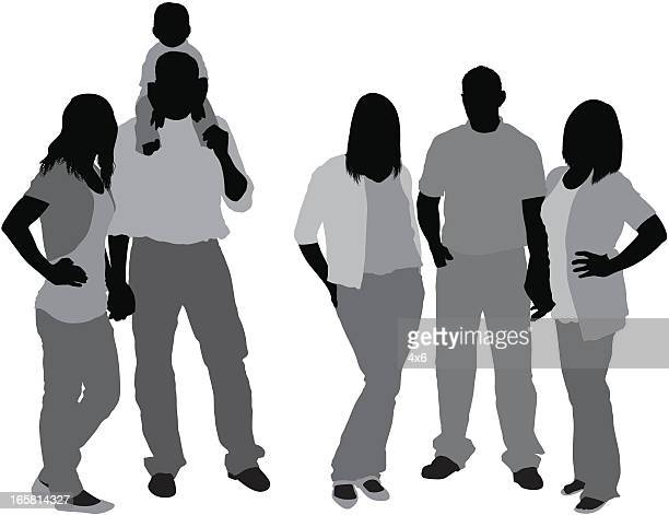 silhouette of a family - hand on hip stock illustrations, clip art, cartoons, & icons