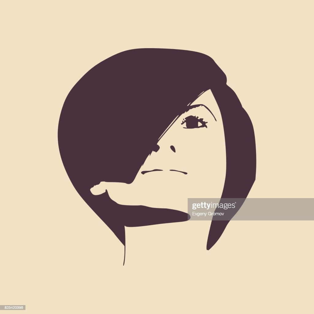 silhouette of a female head face front view vector art getty images