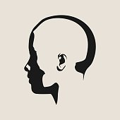 Silhouette of a female head. Face side view.