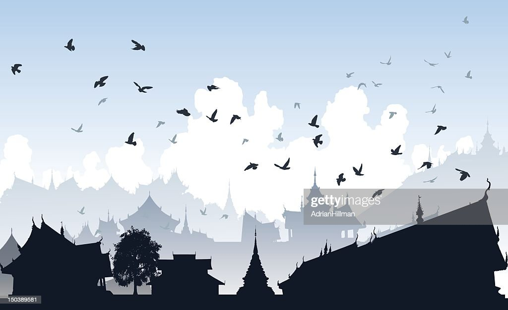 Silhouette of a flock of birds in an eastern city