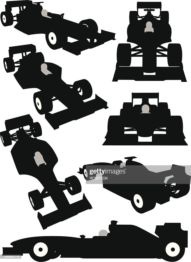 Silhouette of a Formula One car seen from different angles : stock illustration