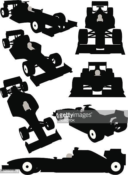 Silhouette of a Formula One car seen from different angles