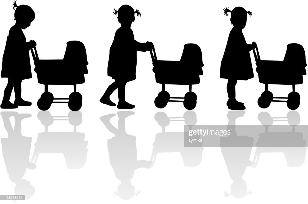 Silhouette of a girl with cart for dolls