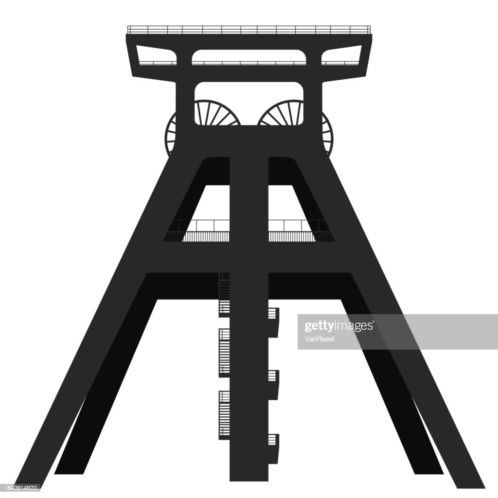Silhouette of a headframe of a coal mine isolated on white background.