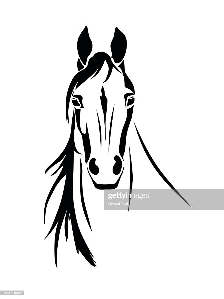 Silhouette of a horse head front view