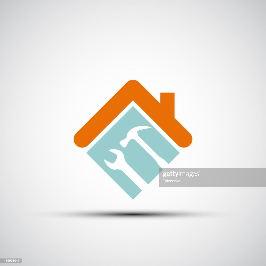 Silhouette of a house with a wrench and a hammer.