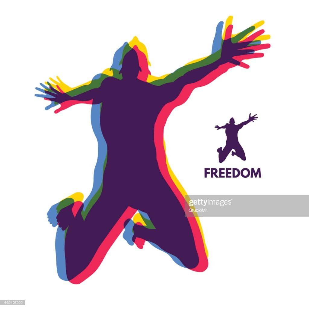 Silhouette of a jumping man. Freedom concept.