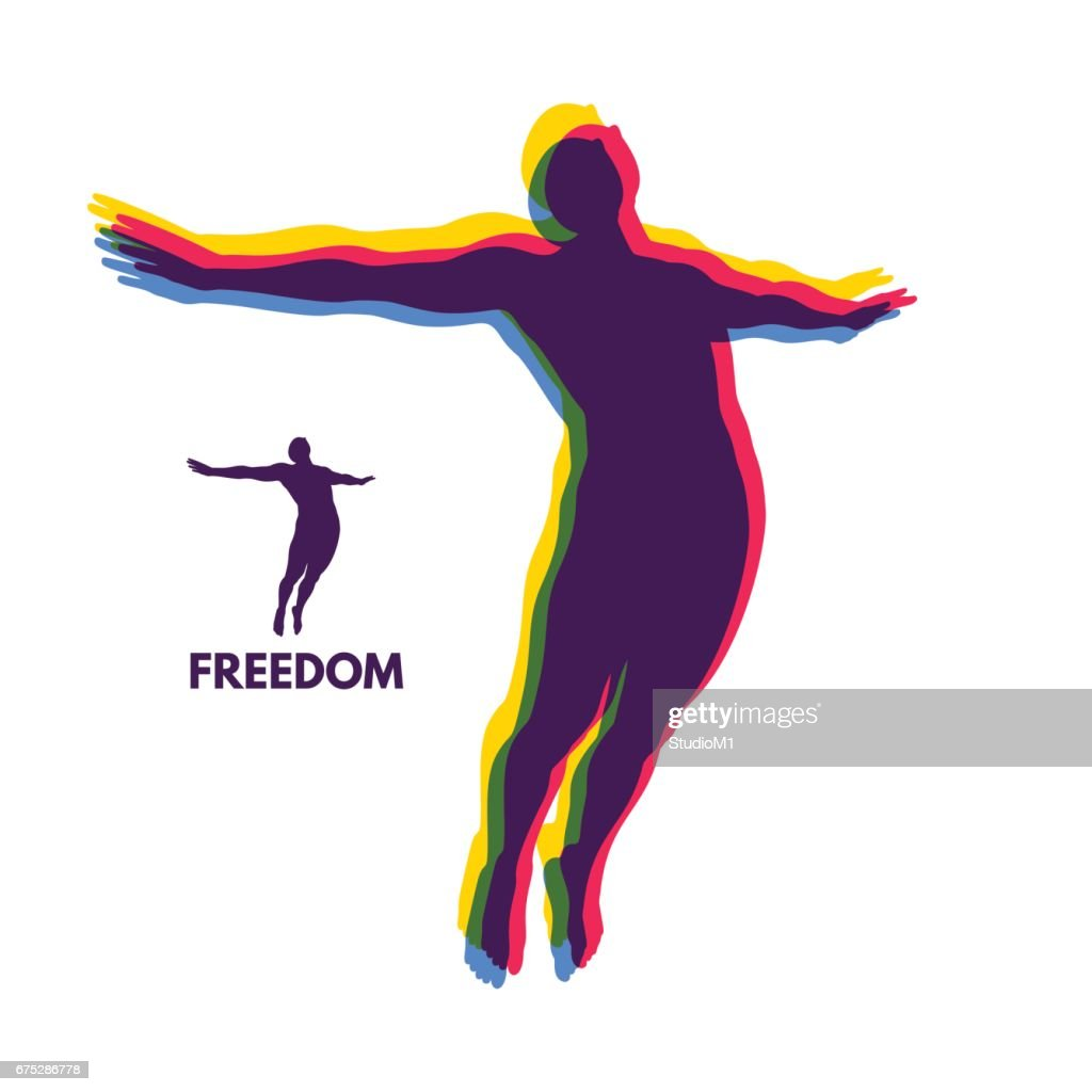 Silhouette of a jumping man. Freedom concept. Vector Illustration.