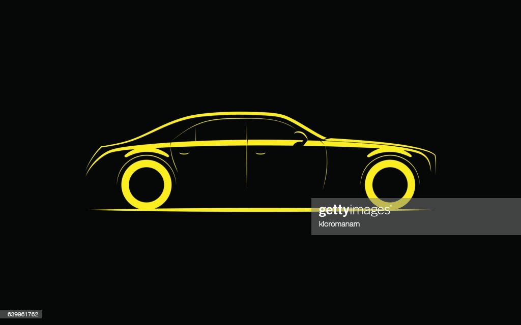 silhouette of a luxury business car on a black background