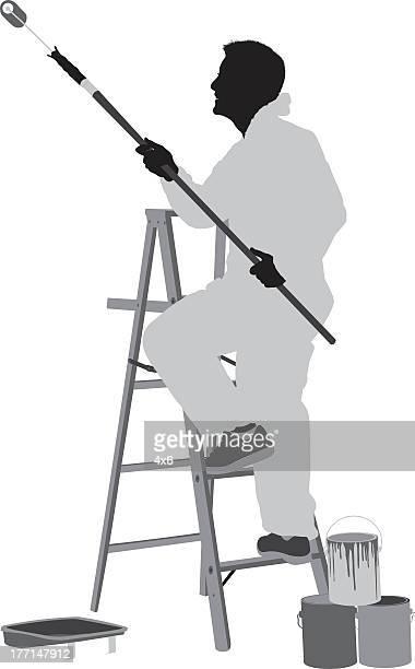 ilustraciones, imágenes clip art, dibujos animados e iconos de stock de silueta de un hombre pintor en el trabajo - pintores de brocha gorda