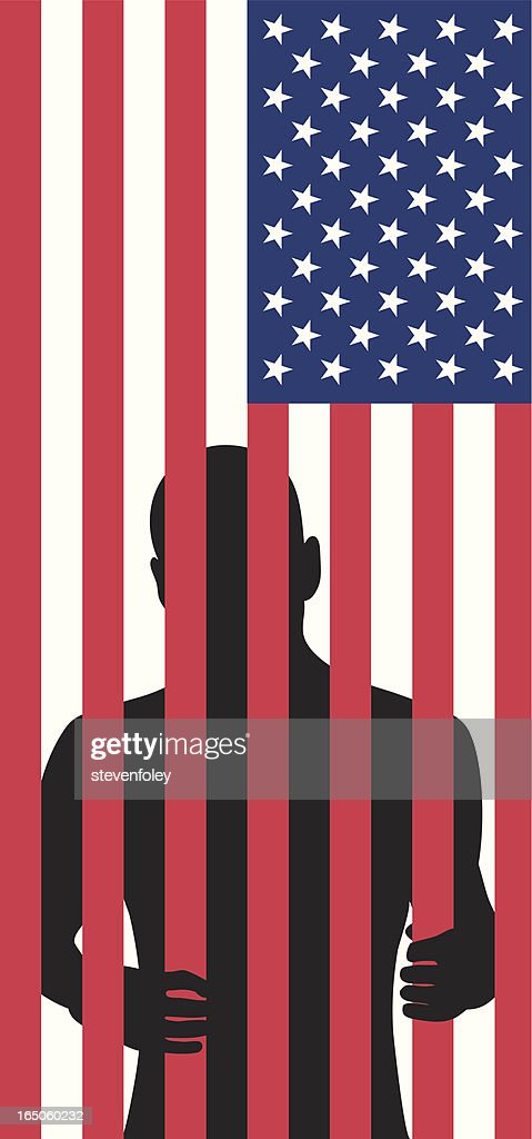 Silhouette of a man behind bars made of flag stripes