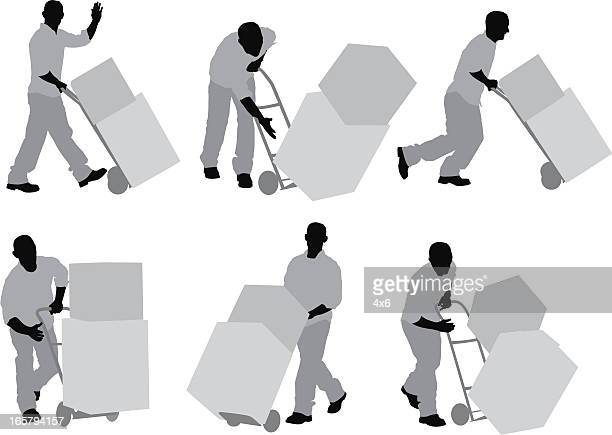 silhouette of a man carrying cardboard boxes - hand truck stock illustrations, clip art, cartoons, & icons