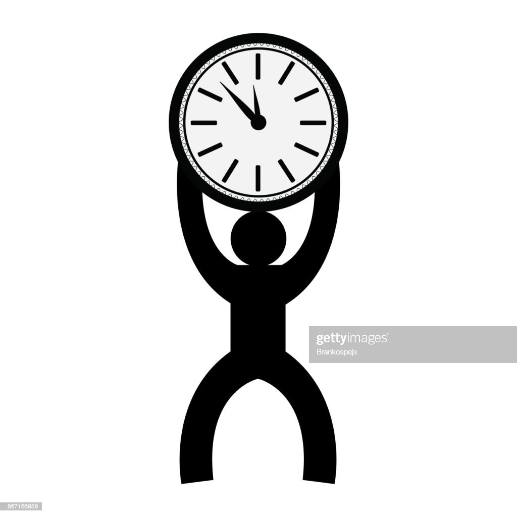 silhouette of a man holding a watch