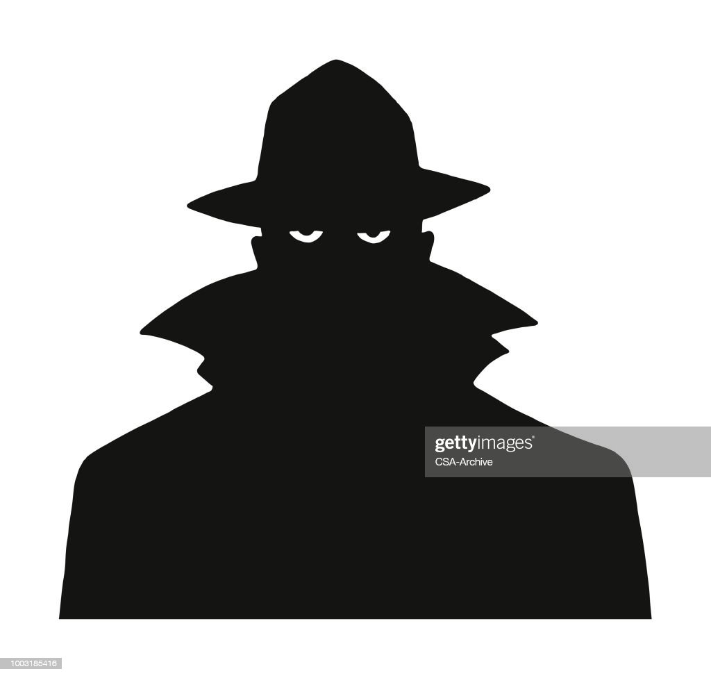 Silhouette of a Man in a Trench Coat and Hat : stock illustration