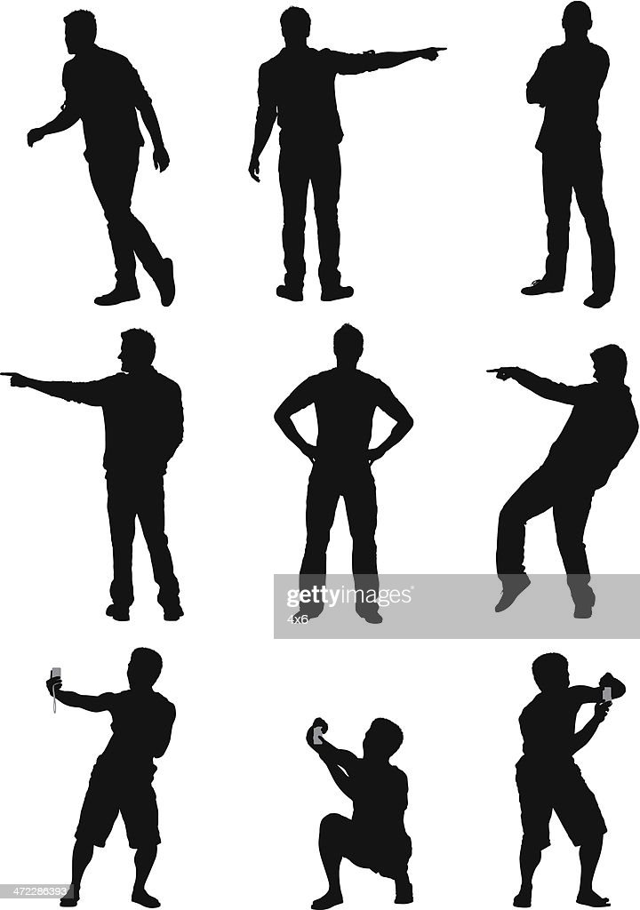 Silhouette of a man in different poses