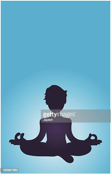 Silhouette of a Man Meditating