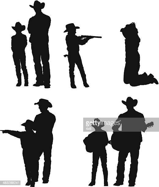 ilustraciones, imágenes clip art, dibujos animados e iconos de stock de silueta de un hombre con su hijo - maltrato infantil