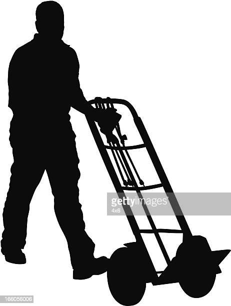 silhouette of a man with trolley - hand truck stock illustrations, clip art, cartoons, & icons