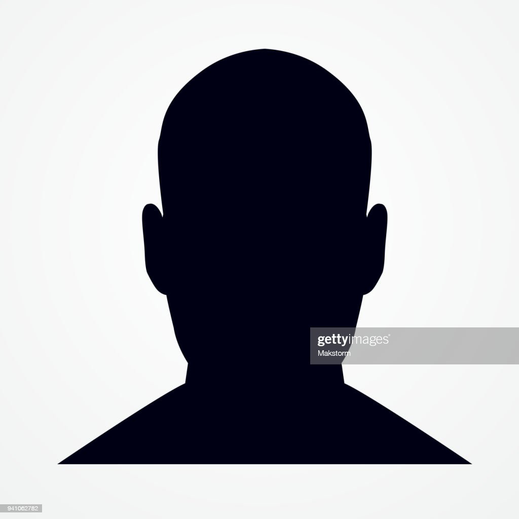 Silhouette of a man's head. Front shot.