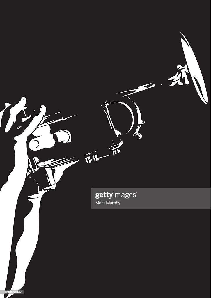 Silhouette of a person playing a jazz trumpet : stock illustration