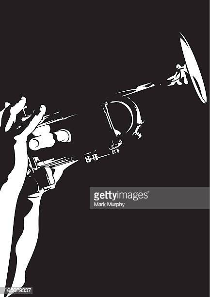 silhouette of a person playing a jazz trumpet - trumpet stock illustrations, clip art, cartoons, & icons