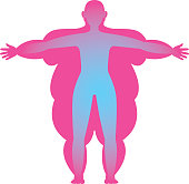 Silhouette of a person with excessive and normal body mass vector illustration